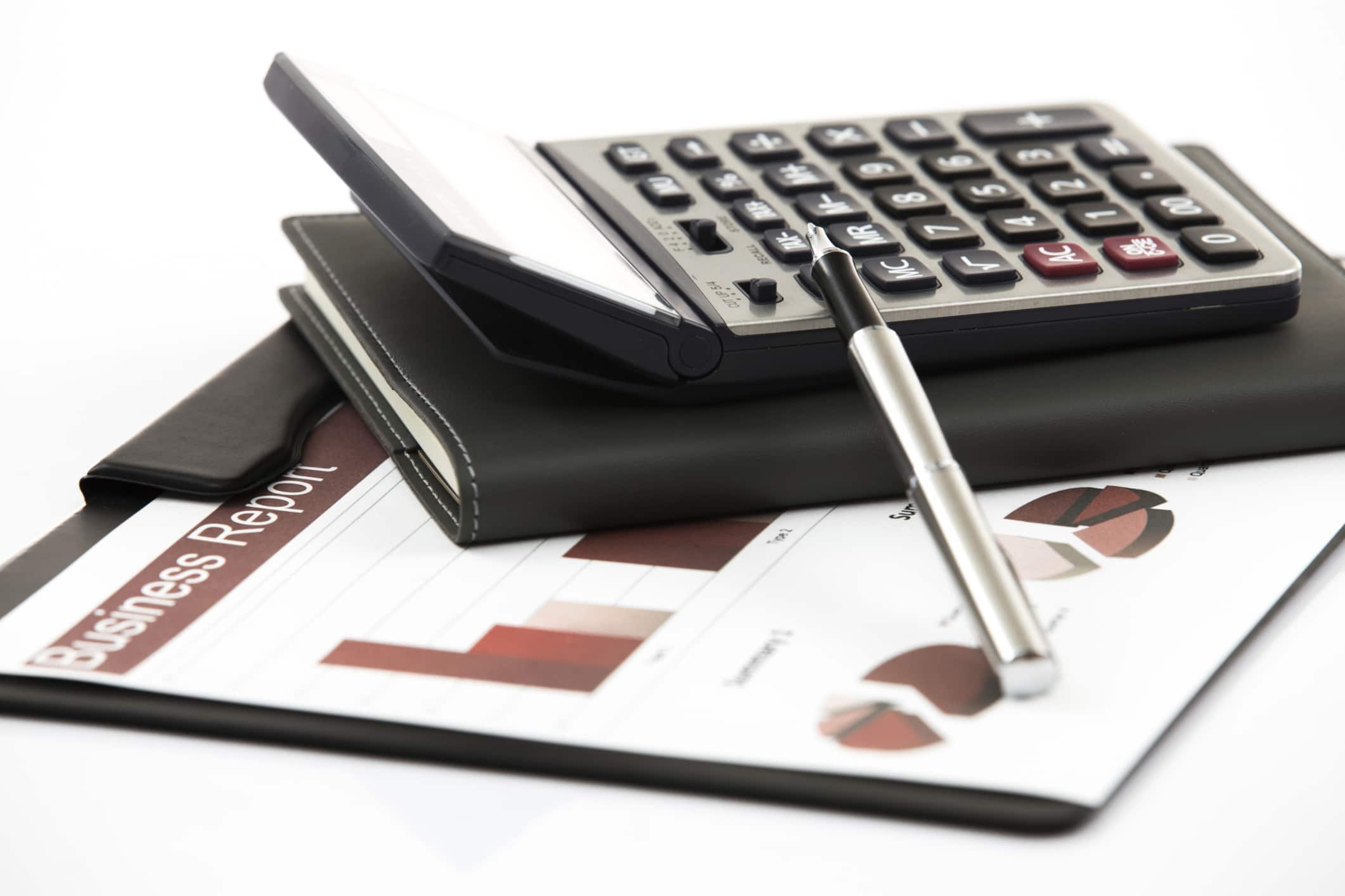 business financial chart analysis with calculator